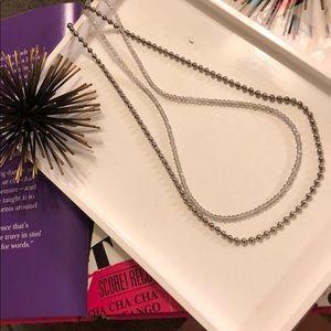 Sorrelli Silver Iridescent Beaded Necklace